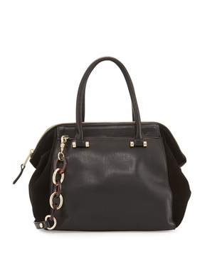 French Connection Devin Suede-Panel Satchel Bag, Black