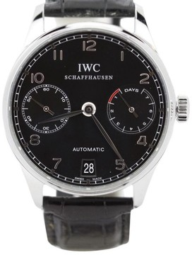IWC Portuguese IW5001 7 Day Stainless Steel Black Dial Automatic Mens Watch