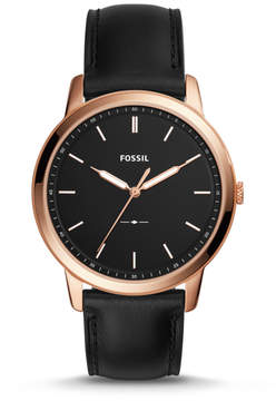 Fossil The Minimalist Slim Three-Hand Black Leather Watch
