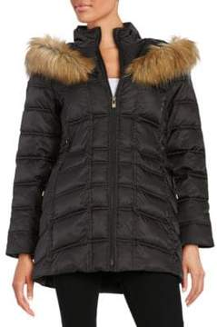 Betsey Johnson Faux Fur-Trimmed Hooded Mid Length Puffer Coat
