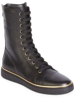 Balmain Leather Lace-Up Sneaker Boots