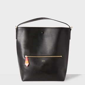 Women's Black Leather Hobo Bag With 'Artist Stripe' Lining