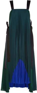 Fendi Tie-side pleated crepe de Chine dress