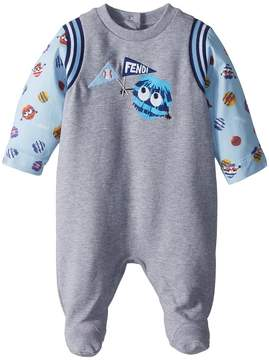 Fendi Footie w/ Fur Monster Sleeves Graphic Boy's Jumpsuit & Rompers One Piece