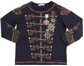 Dolce & Gabbana Military Printed Cotton Jersey T-Shirt