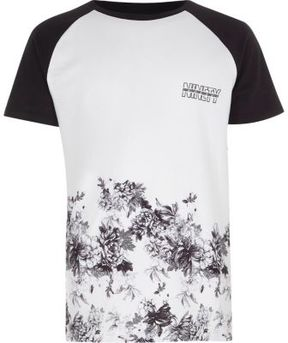 River Island Boys white floral print raglan sleeve T-shirt