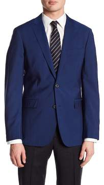 Brooks Brothers Solid Blue Two Button Wool Sport Coat