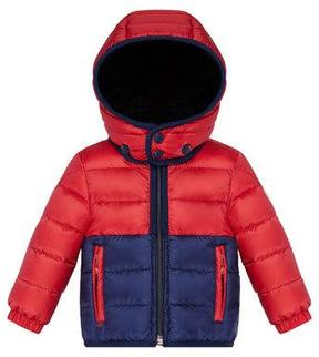Moncler Joachin Two-Tone Lightweight Down Hooded Jacket, Size 12M-3Y