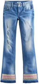 Mudd Girls 7-16 & Plus Size Embroidered Raw Hem Bootcut Jeans