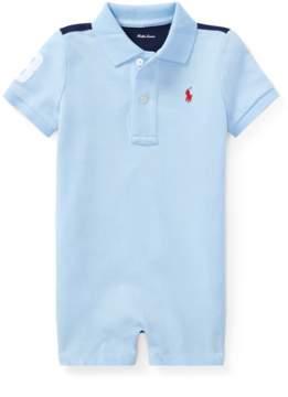 Ralph Lauren | Cotton Mesh Polo Shortall | 18-24 months | Elite blue multi