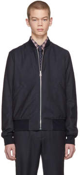 Paul Smith Grey and Navy Plaid Bomber Jacket