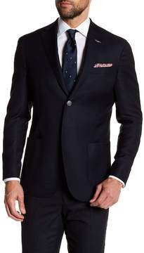 Michael Bastian Navy Woven Two Button Notch Lapel Wool Extra-Trim Fit Blazer