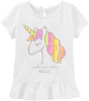 Osh Kosh Oshkosh Bgosh Baby Girl Sequined Unicorn Peplum-Hem Tee