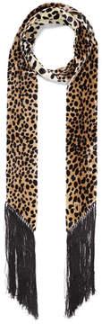 Marc Jacobs Leopard-print Fringe-trimmed Velvet Scarf - Brown