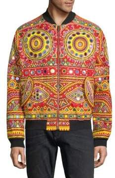 Moschino Embroidered Cotton Bomber Jacket