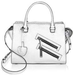 Rebecca Minkoff Small Jamie Leather Satchel - SILVER - STYLE