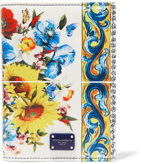Dolce & Gabbana Printed Textured-leather Passport Cover - Yellow - YELLOW - STYLE