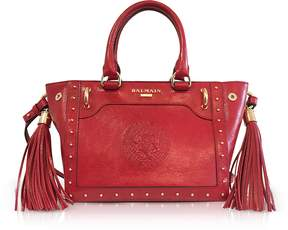Balmain Red Leather Top Handle Mini Tote bag
