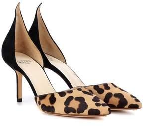 Francesco Russo Leopard-printed calf hair pumps