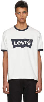 Junya Watanabe Off-White and Navy Levis Edition Logo T-Shirt
