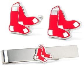 Ice Boston Red Sox Cufflinks and Tie Bar Gift Set
