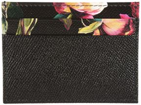 Dolce & Gabbana Floral Print Card Holder - BLACK - STYLE