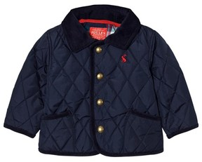 Joules Navy Quilted Barn Jacket with Check Lining