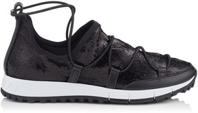 Jimmy Choo ANDREA Black Stretched Paillettes Trainers