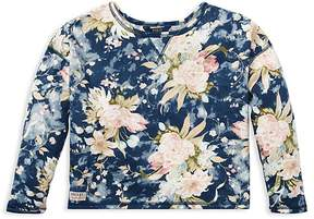 Polo Ralph Lauren Girls' French Terry Floral Sweatshirt - Big Kid