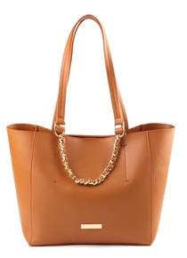 LeVian Suzy Saffiano Faux Leather Woven Chain Tote Bag