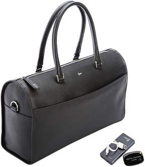 Royce Leather RFID Blocking Saffiano Barrel Bag Set