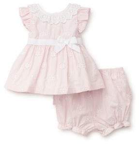 Little Me Baby Girl's Two-Piece Pinstriped Cotton Top and Shorts Set