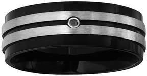 Black Diamond MODERN BRIDE Mens Accent Black IP Stainless Steel Wedding Band