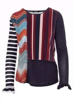Desigual Women's Burgundy Polyester T-shirt.