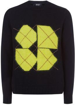 N°21 N 21 Neon Square Motif Wool Sweater