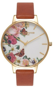 Olivia Burton Women's English Garden Leather Strap Watch, 38Mm