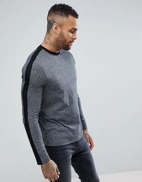New Look Long Sleeve Top With Stripe In Gray