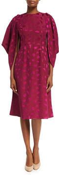 Co Cocoon-Sleeve Mosaic Jacquard Midi Dress