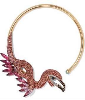 Elizabeth Cole 24-Karat Gold-Plated Swarovski Crystal And Stone Choker