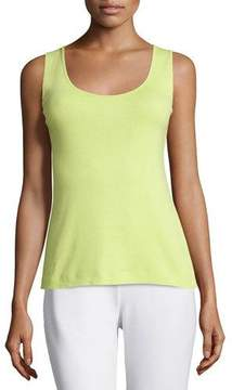 Joan Vass Soft Scoop-Neck Tank, Lime