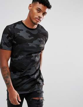 Hype T-Shirt In Black With Camo Print