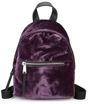 French Connection Women's Top Zip Mini Velvet Backpack