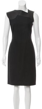 Bottega Veneta Leather-Accented Wool Dress