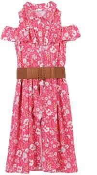 Speechless Girls 7-16 Floral Print Cold Shoulder Belted Walkthrough Dress