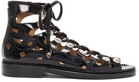 Toga Pulla Leather Sandals in Black.