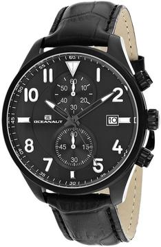 Oceanaut OC4322 Men's Rally Black Leather Watch with Chronograph