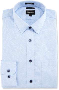 Neiman Marcus Trim-Fit Floral-Print Dress Shirt