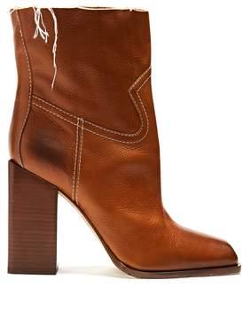 Saint Laurent Jodie square-toe leather ankle boots