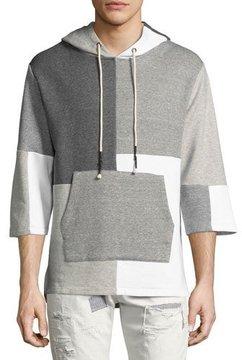 Mostly Heard Rarely Seen Patchwork 3/4-Sleeve Hooded Sweatshirt, Gray Pattern