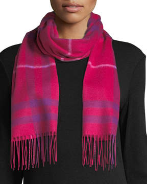 Neiman Marcus Cashmere Waterweave Exploded Plaid Fringe Scarf